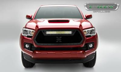 "2016-2017 Tacoma Stealth Torch Grille, Black, 1 Pc, Insert, Black Studs, Incl. (1) 20"" LED - PN #6319411-BR - Image 1"