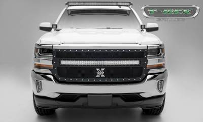 "T-REX GRILLES - 2016-2018 Silverado 1500 Torch Grille, Black, 1 Pc, Replacement, Chrome Studs, Incl. (1) 40"" LED - PN #6311271 - Image 1"