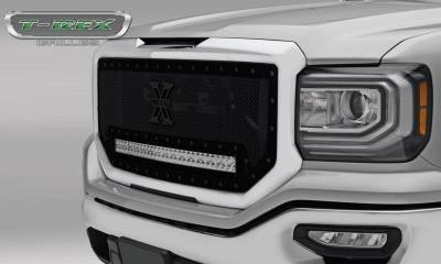 "T-REX GRILLES - 2016-2018 Sierra 1500 Stealth Torch Grille, Black, 1 Pc, Insert, Black Studs, Incl. (1) 30"" LED - PN #6312131-BR - Image 1"