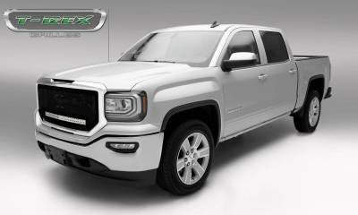 "T-REX GRILLES - 2016-2018 Sierra 1500 Stealth Torch Grille, Black, 1 Pc, Insert, Black Studs with (1) 30"" LED - PN #6312131-BR - Image 2"