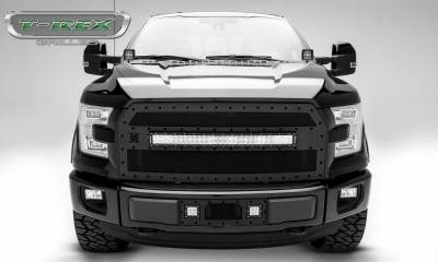 "T-REX GRILLES - 2015-2017 F-150 Stealth Torch Grille, Black, 1 Pc, Replacement, Black Studs with (1) 30"" LED - PN #6315731-BR - Image 2"