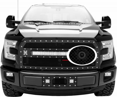 "T-REX GRILLES - 2015-2017 F-150 Stealth Torch Grille, Black, 1 Pc, Replacement, Black Studs, Incl. (1) 30"" LED, Fits Vehicles with Camera - PN #6315741-BR - Image 3"
