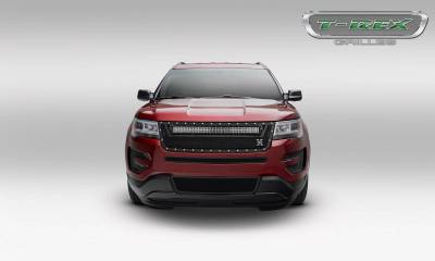 "T-REX GRILLES - 2016-2017 Explorer Torch Grille, Black, 1 Pc, Replacement, Chrome Studs, Incl. (1) 30"" LED - PN #6316641 - Image 2"