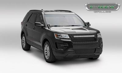 "T-REX GRILLES - 2016-2017 Explorer Stealth Torch Grille, Black, 1 Pc, Replacement, Black Studs with (1) 30"" LED - PN #6316641-BR - Image 3"