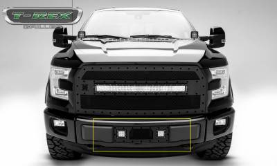 "T-REX GRILLES - 2015-2017 F-150 Stealth Torch Bumper Grille, Black, 1 Pc, Insert, Black Studs with (2) 3"" LED Cube Lights - PN #6325731-BR - Image 2"
