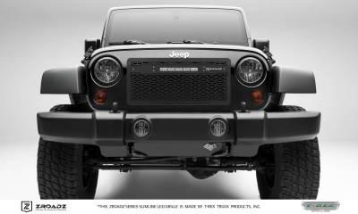 "T-REX GRILLES - 2007-2018 Jeep JK, JKU ZROADZ Grille, Black with Black Trim, 1 Pc, Insert with (1) 10"" LED - PN #Z314831-10C - Image 1"