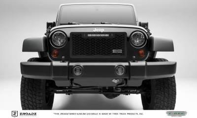 "T-REX GRILLES - 2007-2018 Jeep JK, JKU ZROADZ Grille, Black, 1 Pc, Insert with (1) 10"" LED - PN #Z314831-10T - Image 1"