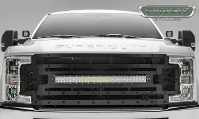 "T-REX GRILLES - 2017-2019 Super Duty Stealth Torch Grille, Black, 1 Pc, Replacement, Black Studs, Incl. (1) 30"" LED - PN #6315471-BR - Image 2"