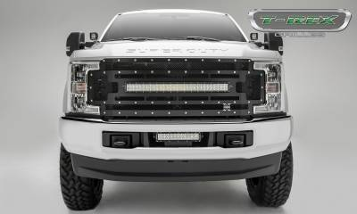 "2017-2019 Super Duty Torch Grille, Black, 1 Pc, Replacement, Chrome Studs, Incl. (1) 30"" LED - PN #6315471 - Image 1"