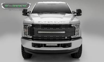 "2017-2019 Super Duty Torch AL Grille, Black Mesh and Trim, 1 Pc, Replacement, Chrome Studs, Incl. (1) 30"" LED - PN #6315481 - Image 5"