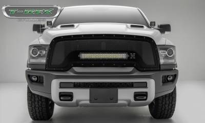 "T-REX GRILLES - 2015-2018 Ram 1500 Rebel Stealth Torch Grille, Black, 1 Pc, Replacement, Black Studs, Incl. (1) 20"" LED - PN #6314641-BR - Image 1"