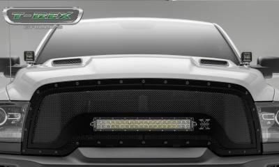 "T-REX GRILLES - 2015-2018 Ram 1500 Rebel Stealth Torch Grille, Black, 1 Pc, Replacement, Black Studs, Incl. (1) 20"" LED - PN #6314641-BR - Image 3"