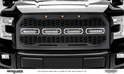 "2015-2017 F-150 Revolver Grille, Black, 1 Pc, Replacement, Chrome Studs, Incl. (4) 6"" LEDs, without Forward Facing Camera - PN #6515731 - Image 2"