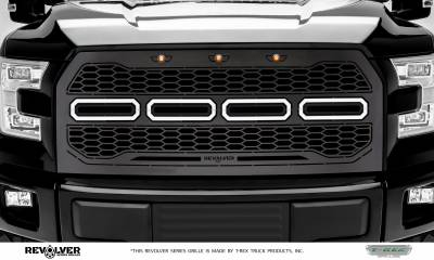 T-REX GRILLES - 2015-2017 F-150 Revolver Grille, Black, 1 Pc, Replacement, Chrome Studs, without Forward Facing Camera - PN #6515751 - Image 2