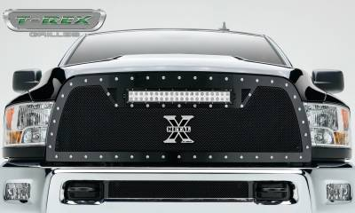 "T-REX GRILLES - 2010-2012 Ram 2500, 3500 Torch Grille, Black, 1 Pc, Replacement, Chrome Studs with (1) 20"" LED - PN #6314531 - Image 2"