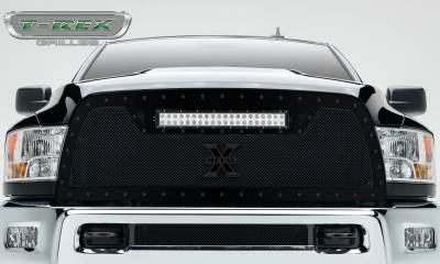 "T-REX GRILLES - 2013-2018 Ram 2500, 3500 Stealth Torch Grille, Black, 1 Pc, Replacement, Black Studs with (1) 20"" LED - PN #6314521-BR - Image 1"