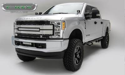 "T-REX GRILLES - 2017-2019 Super Duty Torch AL Grille, Black Mesh, Brushed Trim, 1 Pc, Replacement, Chrome Studs, Incl. (1) 30"" LED, Fits Vehicles with Camera - PN #6315493 - Image 2"