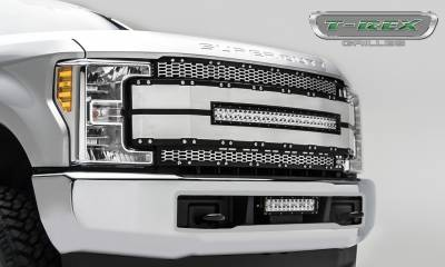 "T-REX GRILLES - 2017-2019 Super Duty Torch AL Grille, Brushed Mesh and Trim, 1 Pc, Replacement, Chrome Studs with (1) 30"" LED, Fits Vehicles with Camera - PN #6315495 - Image 4"