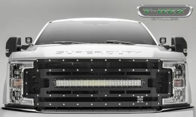 "2017-2019 Super Duty Torch Grille, Black, 1 Pc, Replacement, Chrome Studs, Incl. (1) 30"" LED, Fits Vehicles with Camera - PN #6315371 - Image 1"