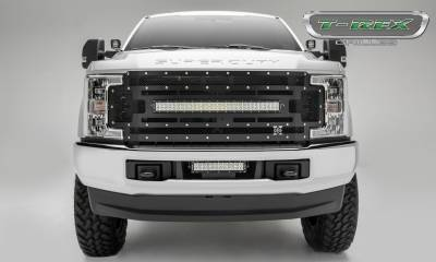 "2017-2019 Super Duty Torch Grille, Black, 1 Pc, Replacement, Chrome Studs, Incl. (1) 30"" LED, Fits Vehicles with Camera - PN #6315371 - Image 2"