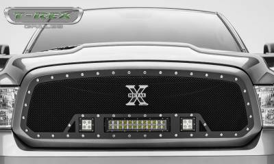 "2013-2018 Ram 1500 Torch Grille, Black, 1 Pc, Insert, Chrome Studs, Incl. (2) 3"" LED Cubes and (1) 12"" LEDs - PN #6314581 - Image 3"