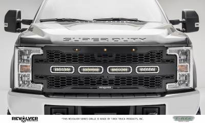 "2017-2019 Super Duty Revolver Grille, Black, 1 Pc, Replacement, Chrome Studs, Incl. (4) 6"" LEDs, Fits Vehicles with Camera - PN #6515631 - Image 1"