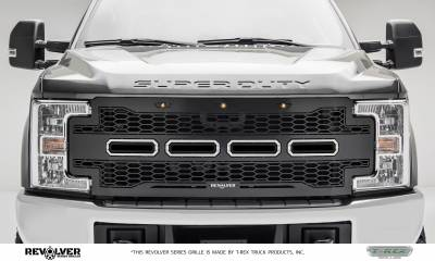 T-REX GRILLES - 2017-2019 Super Duty Revolver Grille, Black, 1 Pc, Replacement, Chrome Studs, Does Not Fit Vehicles with Camera - PN #6515711 - Image 1