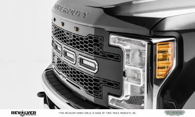 "T-REX GRILLES - 2017-2019 Super Duty Revolver Grille, Black, 1 Pc, Replacement, Chrome Studs with (4) 6"" LEDs, Does Not Fit Vehicles with Camera - PN #6515641 - Image 2"