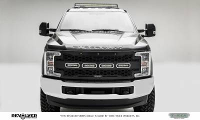 "T-REX GRILLES - 2017-2019 Super Duty Revolver Grille, Black, 1 Pc, Replacement, Chrome Studs with (4) 6"" LEDs, Does Not Fit Vehicles with Camera - PN #6515641 - Image 5"