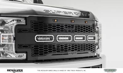 "T-REX GRILLES - 2017-2019 Super Duty Revolver Grille, Black, 1 Pc, Replacement, Chrome Studs with (4) 6"" LEDs, Does Not Fit Vehicles with Camera - PN #6515641 - Image 6"