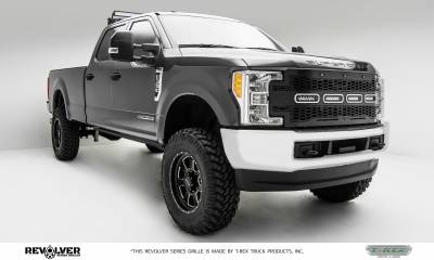 "T-REX GRILLES - 2017-2019 Super Duty Revolver Grille, Black, 1 Pc, Replacement, Chrome Studs with (4) 6"" LEDs, Does Not Fit Vehicles with Camera - PN #6515641 - Image 7"