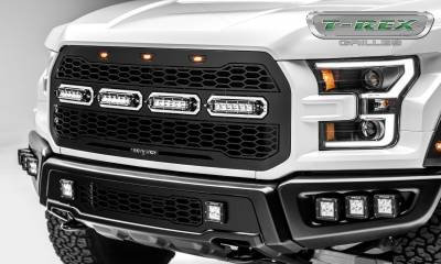 T-REX GRILLES - 2017-2021 F-150 Raptor SVT Revolver Grille, Black, 1 Pc, Replacement, Chrome Studs with (4) 6 Inch LEDs, Fits Vehicles with Camera - PN #6515671 - Image 3