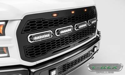 T-REX GRILLES - 2017-2021 F-150 Raptor SVT Revolver Grille, Black, 1 Pc, Replacement, Chrome Studs with (4) 6 Inch LEDs, Fits Vehicles with Camera - PN #6515671 - Image 5