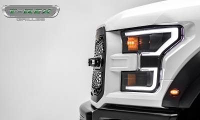 T-REX GRILLES - 2017-2021 F-150 Raptor SVT Revolver Grille, Black, 1 Pc, Replacement, Chrome Studs with (4) 6 Inch LEDs, Fits Vehicles with Camera - PN #6515671 - Image 9