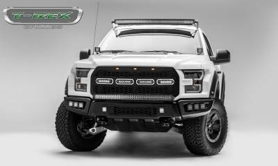 T-REX GRILLES - 2017-2021 F-150 Raptor SVT Revolver Grille, Black, 1 Pc, Replacement, Chrome Studs with (4) 6 Inch LEDs, Fits Vehicles with Camera - PN #6515671 - Image 6