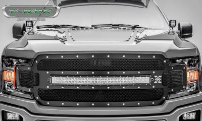 "T-REX GRILLES - 2018-2019 F-150 Torch Grille, Black, 1 Pc, Replacement, Chrome Studs, Incl. (1) 30"" LED - PN #6315711 - Image 2"
