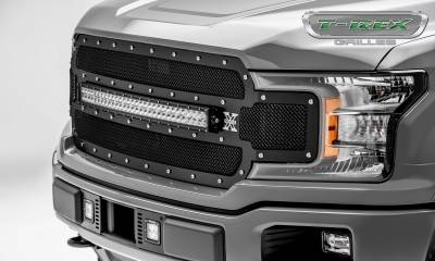 "T-REX GRILLES - 2018-2019 F-150 Torch Grille, Black, 1 Pc, Replacement, Chrome Studs, Incl. (1) 30"" LED - PN #6315711 - Image 5"