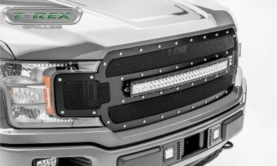 "T-REX GRILLES - 2018-2019 F-150 Torch Grille, Black, 1 Pc, Replacement, Chrome Studs, Incl. (1) 30"" LED - PN #6315711 - Image 3"
