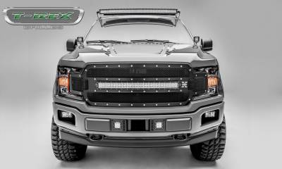 "T-REX GRILLES - 2018-2019 F-150 Torch Grille, Black, 1 Pc, Replacement, Chrome Studs, Incl. (1) 30"" LED - PN #6315711 - Image 1"