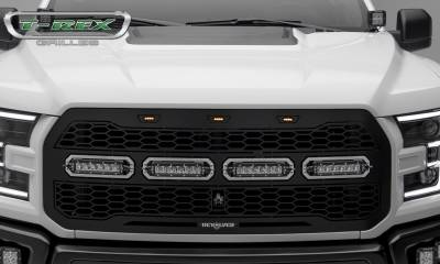 T-REX GRILLES - 2017-2021 F-150 Raptor SVT Revolver Grille, Black, 1 Pc, Replacement, Chrome Studs with (4) 6 Inch LEDs, Fits Vehicles with Camera - PN #6515671 - Image 2