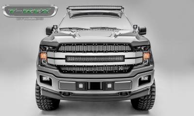 "T-REX GRILLES - 2018-2019 F-150 Torch AL Grille, Brushed Mesh and Trim, 1 Pc, Replacement, Chrome Studs, Incl. (1) 30"" LED - PN #6315785 - Image 1"
