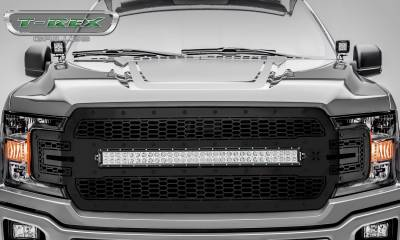 T-REX GRILLES - 2018-2020 F-150 Stealth Laser Torch Grille, Black, 1 Pc, Replacement, Black Studs with 30 Inch LED, Does Not Fit Vehicles with Camera - PN #7315711-BR - Image 2