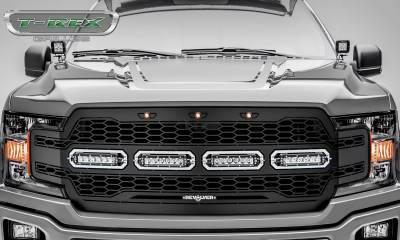 T-REX GRILLES - 2018-2020 F-150 Revolver Grille, Black, 1 Pc, Replacement, Chrome Studs with (4) 6 Inch LEDs, Does Not Fit Vehicles with Camera - PN #6515841 - Image 2