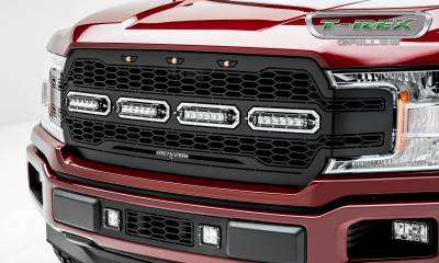 T-REX GRILLES - 2018-2020 F-150 Revolver Grille, Black, 1 Pc, Replacement, Chrome Studs with (4) 6 Inch LEDs, Does Not Fit Vehicles with Camera - PN #6515841 - Image 5
