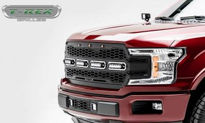 "T-REX GRILLES - 2018-2019 F-150 Revolver Grille, Black, 1 Pc, Replacement, Chrome Studs, Incl. (4) 6"" LEDs - PN #6515841 - Image 6"