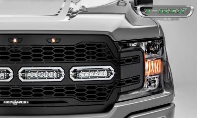 T-REX GRILLES - 2018-2020 F-150 Revolver Grille, Black, 1 Pc, Replacement, Chrome Studs with (4) 6 Inch LEDs, Does Not Fit Vehicles with Camera - PN #6515841 - Image 3