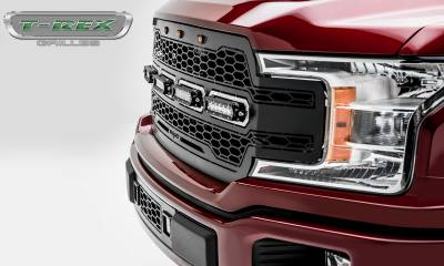 "T-REX GRILLES - 2018-2019 F-150 Revolver Grille, Black, 1 Pc, Replacement, Chrome Studs, Incl. (4) 6"" LEDs - PN #6515841 - Image 4"