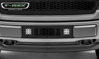 T-REX GRILLES - 2018-2020 F-150 Limited, Lariat Stealth Laser Torch Bumper Grille, Black, 1 Pc, Overlay, Black Studs with (2) 3 Inch LED Cube Lights - PN #7325711-BR - Image 2