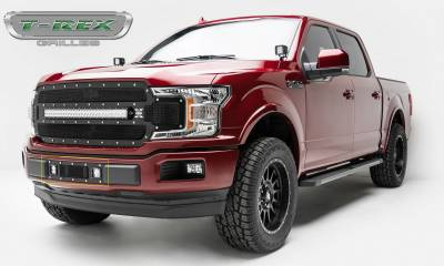 """T-REX GRILLES - 2018-2020 F-150 Limited, Lariat Torch Bumper Grille, Black, 1 Pc, Replacement, Chrome Studs, Incl. (2) 3"""" LED Cube Lights - PN #6325791 - Image 5"""