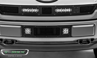 "T-REX GRILLES - 2018-2020 F-150 Limited, Lariat Stealth Torch Bumper Grille, Black, 1 Pc, Replacement, Black Studs with (2) 3"" LED Cube Lights - PN #6325791-BR - Image 3"